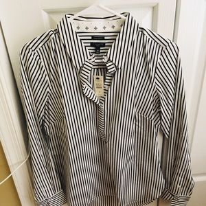 Talbots Brand New black and White Stripe Blouse